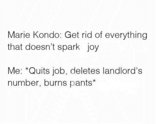 Dank, 🤖, and Joy: Marie Kondo: Get rid of everything  that doesn't spark joy  Me: *Quits job, deletes landlord's  number, burns pants*