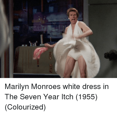 Dress, Marilyn Monroe, and White: Marilyn Monroes white dress in The Seven Year Itch (1955) (Colourized)