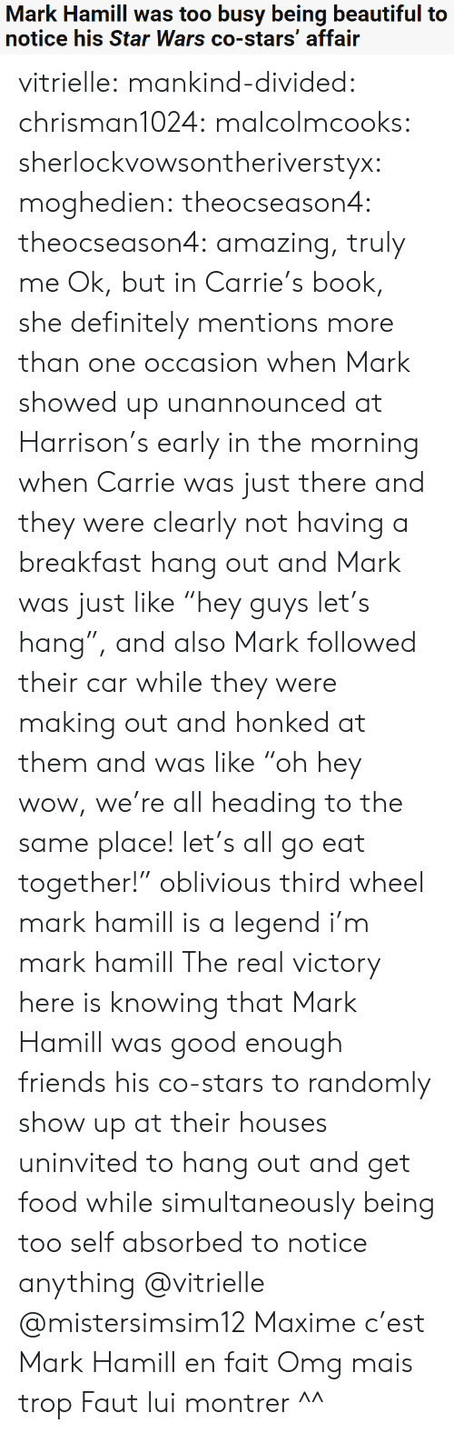 """fait: Mark Hamill was too busy being beautiful to  notice his Star Wars co-stars' affair vitrielle:  mankind-divided:  chrisman1024:  malcolmcooks:  sherlockvowsontheriverstyx:  moghedien:  theocseason4:  theocseason4: amazing, truly me  Ok, but in Carrie's book, she definitely mentions more than one occasion when Mark showed up unannounced at Harrison's early in the morning when Carrie was just there and they were clearly not having a breakfast hang out and Mark was just like """"hey guys let's hang"""", and also Mark followed their car while they were making out and honked at them and was like """"oh hey wow, we're all heading to the same place! let's all go eat together!""""   oblivious third wheel mark hamill is a legend   i'm mark hamill   The real victory here is knowing that Mark Hamill was good enough friends his co-stars to randomly show up at their houses uninvited to hang out and get food while simultaneously being too self absorbed to notice anything  @vitrielle @mistersimsim12 Maxime c'est Mark Hamill en fait  Omg mais trop Faut lui montrer ^^"""