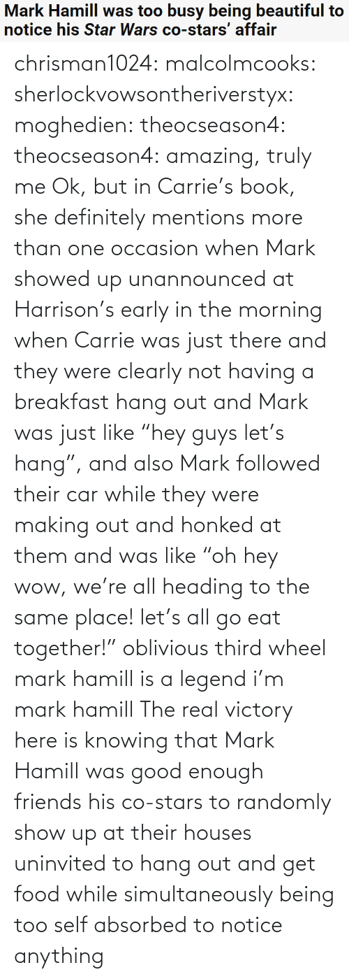 "Here Is: Mark Hamill was too busy being beautiful to  notice his Star Wars co-stars' affair chrisman1024:  malcolmcooks:  sherlockvowsontheriverstyx:  moghedien:  theocseason4:  theocseason4: amazing, truly me  Ok, but in Carrie's book, she definitely mentions more than one occasion when Mark showed up unannounced at Harrison's early in the morning when Carrie was just there and they were clearly not having a breakfast hang out and Mark was just like ""hey guys let's hang"", and also Mark followed their car while they were making out and honked at them and was like ""oh hey wow, we're all heading to the same place! let's all go eat together!""   oblivious third wheel mark hamill is a legend   i'm mark hamill   The real victory here is knowing that Mark Hamill was good enough friends his co-stars to randomly show up at their houses uninvited to hang out and get food while simultaneously being too self absorbed to notice anything"