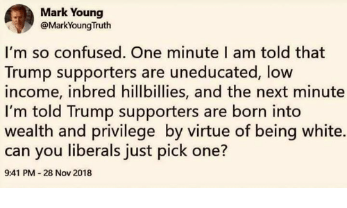 Being White: Mark Young  @MarkYoungTruth  I'm so confused. One minute I am told that  Trump supporters are uneducated, low  income, inbred hillbillies, and the next minute  I'm told Trump supporters are born into  wealth and privilege by virtue of being white.  can you liberals just pick one?  9:41 PM 28 Nov 2018