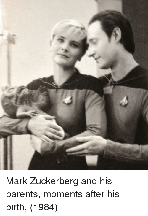 Mark Zuckerberg, Parents, and Zuckerberg: Mark Zuckerberg and his parents, moments after his birth, (1984)