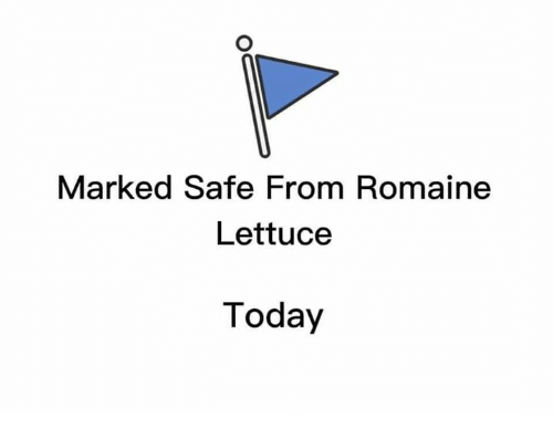 Marked Safe: Marked Safe From Romaine  Lettuce  Today