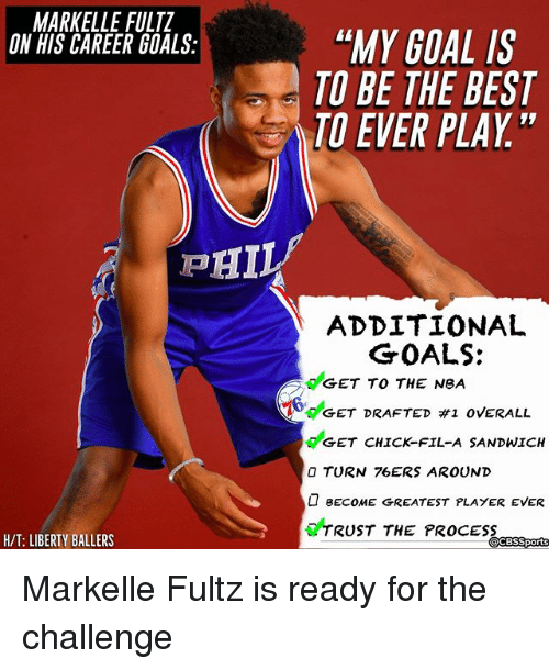"""Cbssports: MARKELLE FULTZ  ON HIS CAREER GOALS:  """"MY GOAL IS  TO BE THE BEST  TO EVER PLAY""""  ADDITIONAL  GET TO THE NeA  GET CHICK-FIL-A SANDWICH  GOALS:  6deET DRAFTED #1 OVERALL  O TURN 76ERS AROUND  BECOME GREATEST PLAYER EVER  TRUST THE PROCESS  H/T: LIBERTY BALLERS  CBSSports Markelle Fultz is ready for the challenge"""