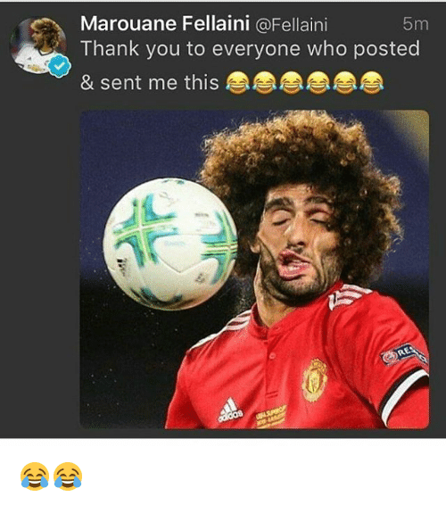 Memes, Thank You, and 🤖: Marouane Fellaini @Fellaini  Thank you to everyone who posted  & sent me this  5m 😂😂