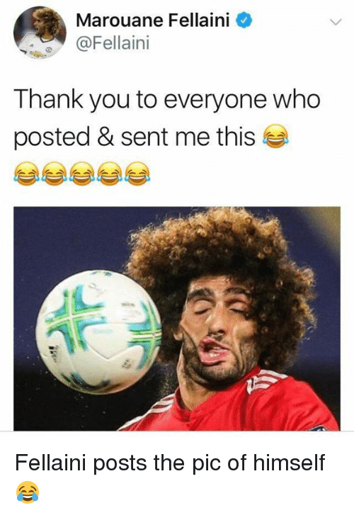 Memes, Thank You, and 🤖: Marouane Fellaini  @Fellaini  Thank you to everyone who  posted & sent me this Fellaini posts the pic of himself 😂