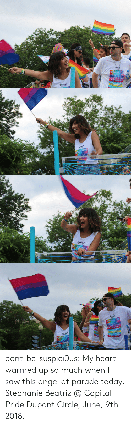 Marriott: Marriott   Marriott   ott  Narriott dont-be-suspici0us: My heart warmed up so much when I saw this angel at parade today.  Stephanie Beatriz @ Capital Pride Dupont Circle, June, 9th 2018.