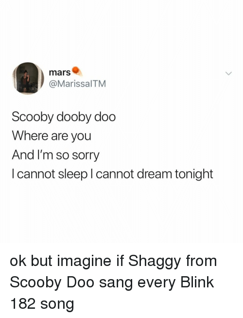 Scooby Doo, Sorry, and Sang: mars  @MarissalTM  Scooby dooby doo  Where are you  And I'm so sorry  I cannot sleep I cannot dream tonight ok but imagine if Shaggy from Scooby Doo sang every Blink 182 song