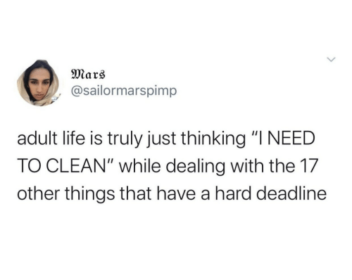 "Adult Life: Mars  @sailormarspimp  adult life is truly just thinking ""I NEED  TO CLEAN"" while dealing with the 17  other things that have a hard deadline"