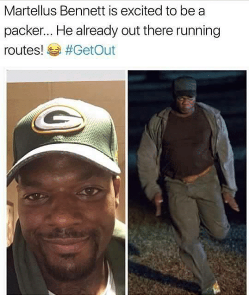 Nfl, Packers, and Packer: Martellus Bennett is excited to be a  packer... He already out there running  routes!  #Get Out