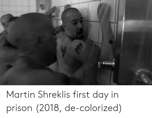 Shrekli: Martin Shreklis first day in prison (2018, de-colorized)