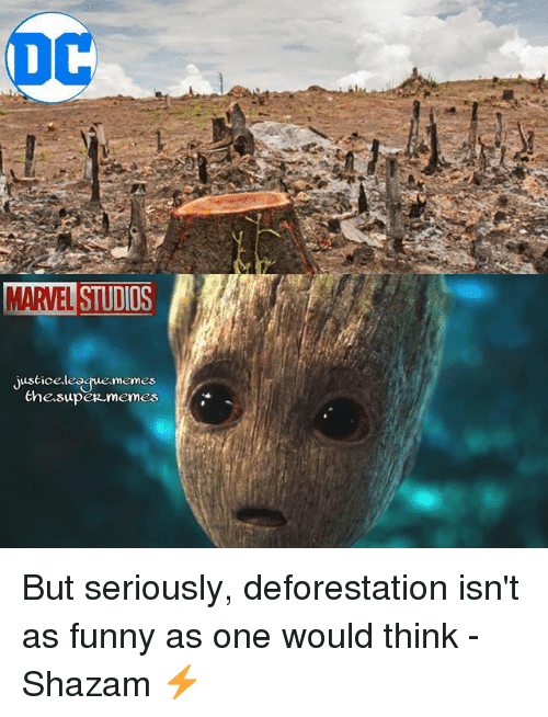 deforestation: MARVEL STUDIO  iustice league memes  the super memes But seriously, deforestation isn't as funny as one would think -Shazam ⚡️