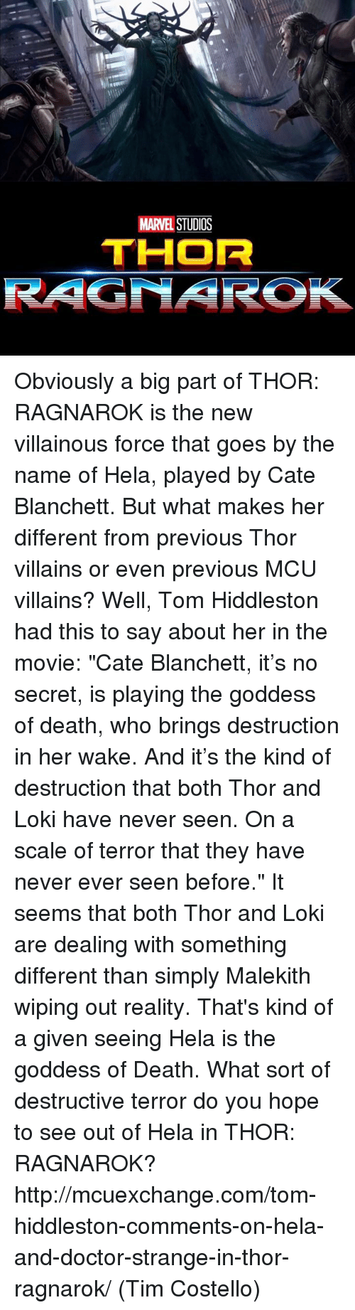 "Doctor, Memes, and Movies: MARVEL  STUDOS  THOR  RAGNAROK Obviously a big part of THOR: RAGNAROK is the new villainous force that goes by the name of Hela, played by Cate Blanchett. But what makes her different from previous Thor villains or even previous MCU villains?  Well, Tom Hiddleston had this to say about her in the movie: ""Cate Blanchett, it's no secret, is playing the goddess of death, who brings destruction in her wake. And it's the kind of destruction that both Thor and Loki have never seen. On a scale of terror that they have never ever seen before.""  It seems that both Thor and Loki are dealing with something different than simply Malekith wiping out reality. That's kind of a given seeing Hela is the goddess of Death. What sort of destructive terror do you hope to see out of Hela in THOR: RAGNAROK?  http://mcuexchange.com/tom-hiddleston-comments-on-hela-and-doctor-strange-in-thor-ragnarok/  (Tim Costello)"