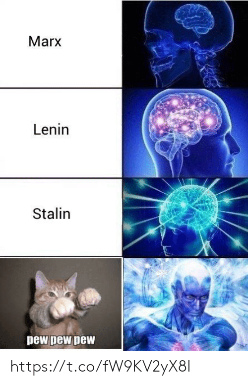 Stalin, Lenin, and Marx: Marx  Lenin  Stalin  pew pew pew https://t.co/fW9KV2yX8I