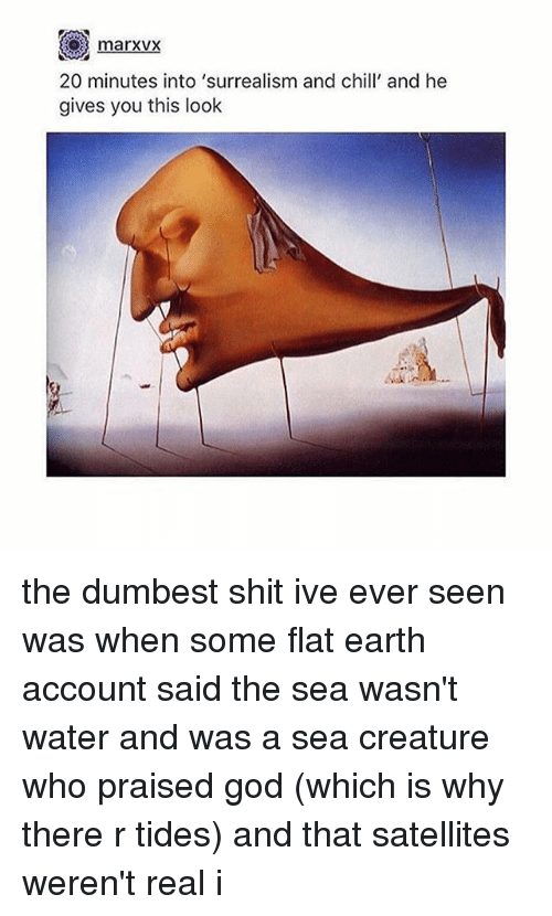 surrealism: marxvx  20 minutes into 'surrealism and chill and he  gives you this look the dumbest shit ive ever seen was when some flat earth account said the sea wasn't water and was a sea creature who praised god (which is why there r tides) and that satellites weren't real i