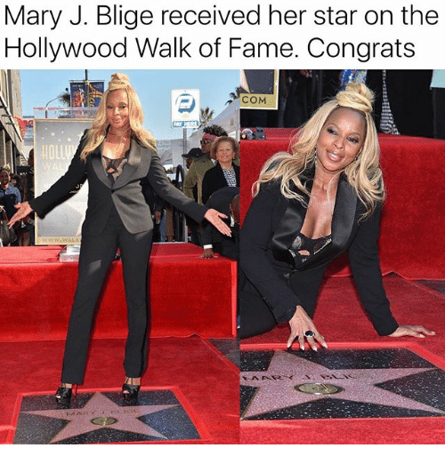 Memes, Star, and 🤖: Mary J. Blige received her star on the  Hollywood Walk of Fame. Congrats  COM  HOLL