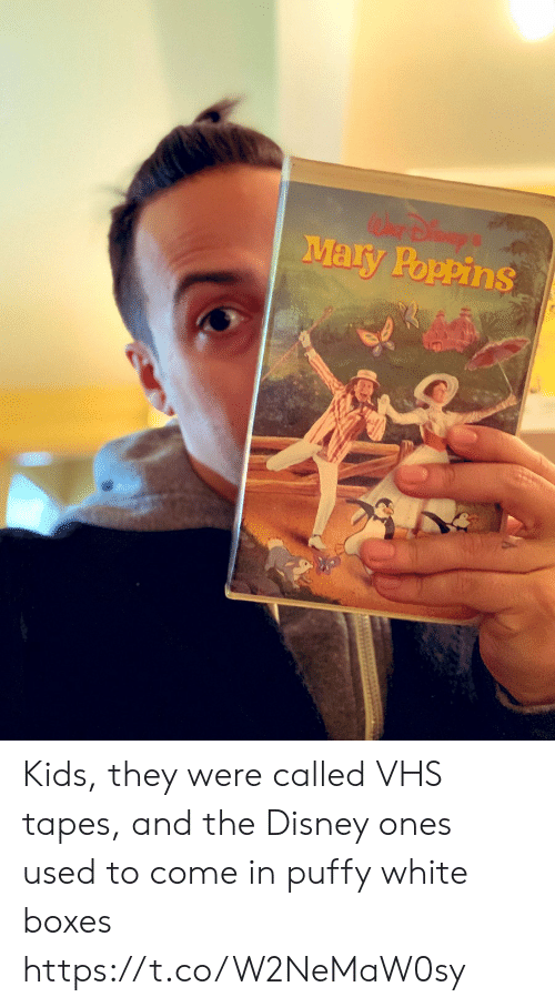 Disney, Memes, and Kids: Mary Poppins Kids, they were called VHS tapes, and the Disney ones used to come in puffy white boxes https://t.co/W2NeMaW0sy