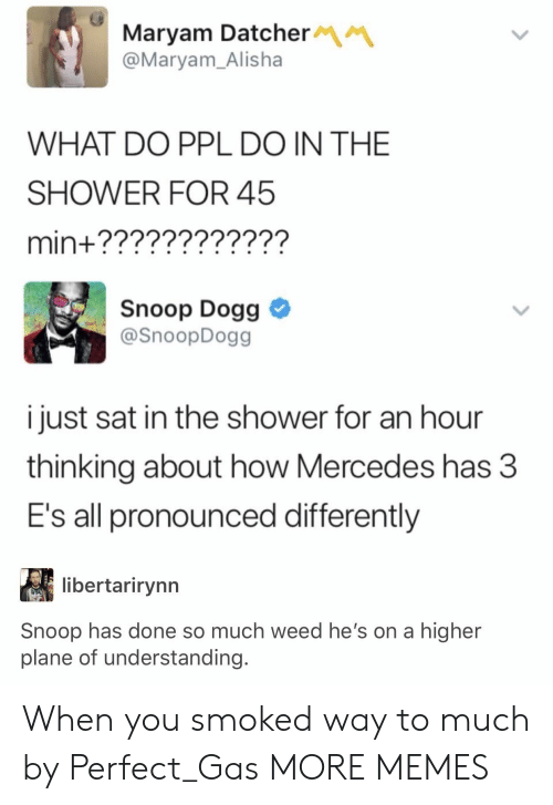 snoop dogg: Maryam Datcher  @Maryam_Alisha  WHAT DO PPL DO IN THE  SHOWER FOR 45  min+????????????  Snoop Dogg  @SnoopDogg  i just sat in the shower for an hour  thinking about how Mercedes has 3  E's all pronounced differently  libertarirynn  Snoop has done so much weed he's on a higher  plane of understanding. When you smoked way to much by Perfect_Gas MORE MEMES