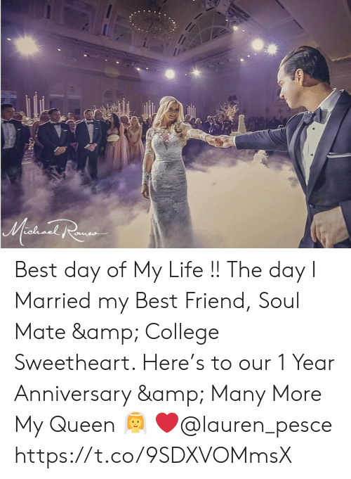 Best Friend, College, and Life: Mashionl Ra Best day of My Life !! The day I Married my Best Friend, Soul Mate & College Sweetheart. Here's to our 1 Year Anniversary & Many More My Queen 👰 ❤️@lauren_pesce https://t.co/9SDXVOMmsX