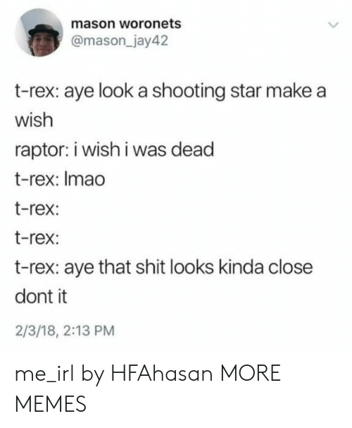 Closeness: mason woronets  @mason_jay42  t-rex: aye look a shooting star make a  wish  raptor: i wish i was dead  t-rex: Imao  t-rex:  t-rex:  t-rex: aye that shit looks kinda close  dont it  2/3/18, 2:13 PM me_irl by HFAhasan MORE MEMES