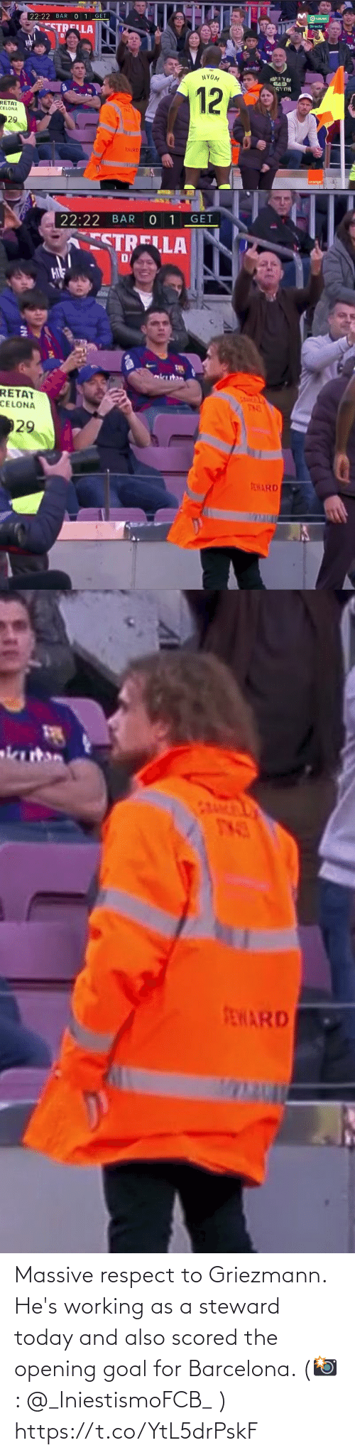 Barcelona: Massive respect to Griezmann. He's working as a steward today and also scored the opening goal for Barcelona.   (📸: @_IniestismoFCB_ ) https://t.co/YtL5drPskF