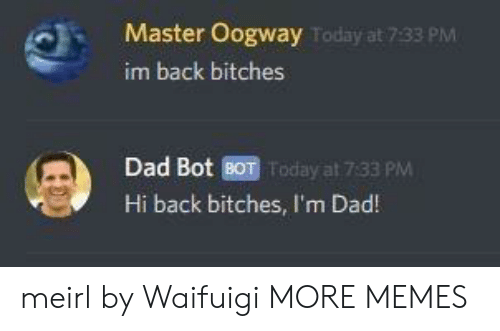 im back: Master Oogway  im back bitches  Today at 7:33 PM  Dad Bot BOT Today at 7:33 PM  Hi back bitches, I'm Dad! meirl by Waifuigi MORE MEMES