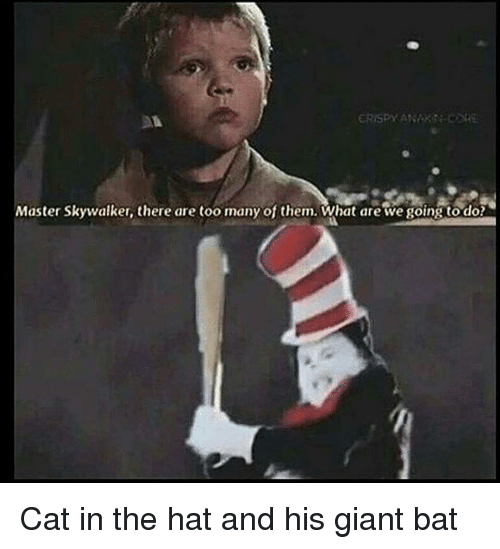 dox: Master Skywalker, there are too many of them.What are we going to dox <p>Cat in the hat and his giant bat</p>
