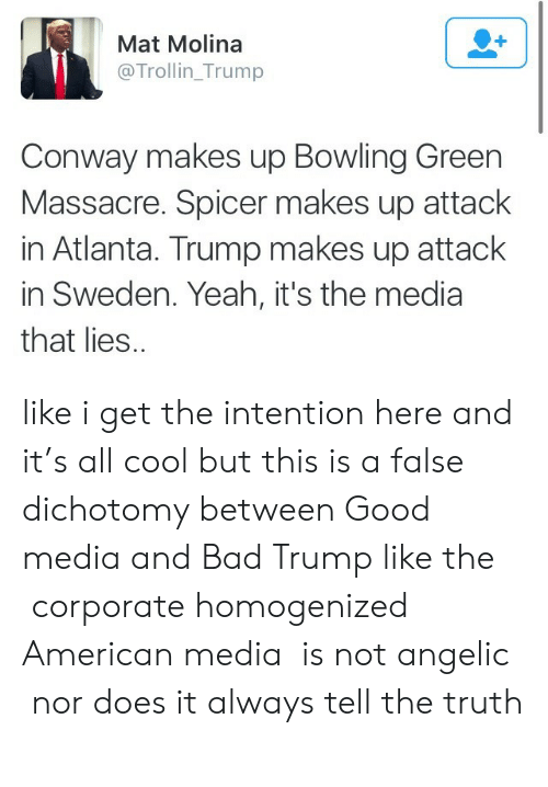 homogenized: Mat Molina  @Trollin_Trump  Conway makes up Bowling Green  Massacre. Spicer makes up attack  in Atlanta. Trump makes up attack  in Sweden. Yeah, it's the media  that lies. like i get the intention here and it's all cool but this is a false dichotomy between Good media and Bad Trump like the corporate homogenized American media is not angelic nor does it always tell the truth