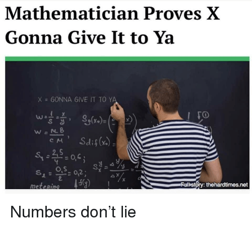 O S: Mathematician Proves X  Gonna Give It to Ya  X = GONNA 6IVE IT TO Y  S d  o,s  ulbstory: thehardtimes.net  meteRin Numbers don't lie