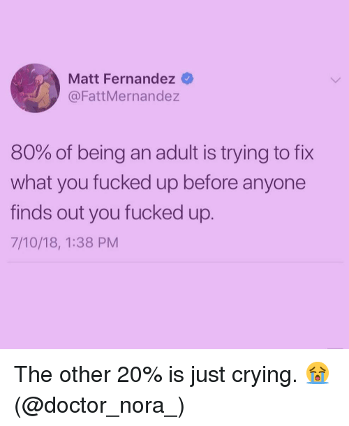 Being an Adult, Crying, and Doctor: Matt Fernandez  @FattMernandez  80% of being an adult is trying to fix  what you fucked up before anyone  finds out you fucked up.  7/10/18, 1:38 PM The other 20% is just crying. 😭 (@doctor_nora_)