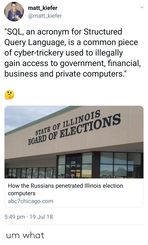"Acronym: matt_kiefer  @matt_kiefer  ""SQL, an acronym for Structured  Query Language, is a common piece  of cyber-trickery used to illegally  gain access to government, financial,  business and private computers.""  STATE OF ILLINOIS  BOARD OF ELECTIONS  2329  How the Russians penetrated llinois election  computers  abc7chicago.com  5:49 pm 19 Jul 18 um what"