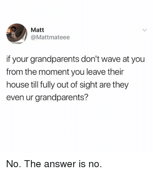 Out of Sight: Matt  @Mattmateee  if your grandparents don't wave at you  from the moment you leave their  house till fully out of sight are they  even ur grandparents? No. The answer is no.