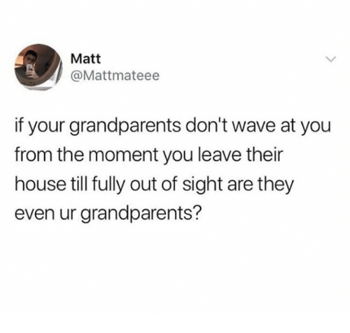 Out of Sight: Matt  @Mattmateee  if your grandparents don't wave at you  from the moment you leave their  house till fully out of sight are they  even ur grandparents?