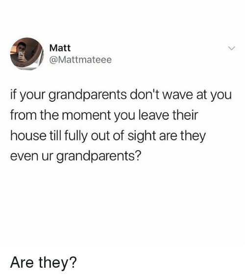 Out of Sight: Matt  @Mattmateee  if your grandparents don't wave at you  from the moment you leave their  house till fully out of sight are they  even ur grandparents? Are they?