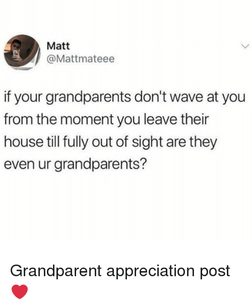 Out of Sight: Matt  @Mattmateee  if your grandparents don't wave at you  from the moment you leave their  house till fully out of sight are they  even ur grandparents? Grandparent appreciation post ❤
