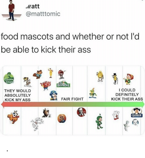 kfc: Matt  @matttomic  food mascots and whether or not l'd  be able to kick their ass  Green  Gian  BOYARDEE  I COULD  THEY WOULD  DEFINITELY  ABSOLUTELY  FAIR FIGHT  KICK THEIR ASS  KICK MY ASS  KFC  QUAKER .