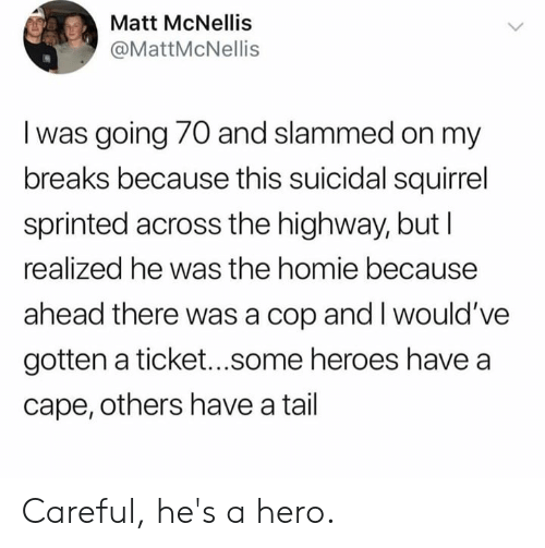 slammed: Matt McNellis  @MattMcNellis  I was going 70 and slammed on my  breaks because this suicidal squirrel  sprinted across the highway, but l  realized he was the homie because  ahead there was a cop and I would've  gotten a ticket...some heroes have a  cape, others have a tail Careful, he's a hero.