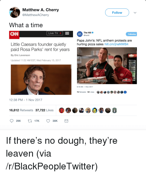 """Blackpeopletwitter, cnn.com, and Little Caesars: Matthew A. Cherry  @MatthewACherry  Follow  What a time  CNN  The Hill  @thehill  Live TV  THE  HILL  Papa John's: NFL anthem protests are  hurting pizza sales hill.cm/jneNWB4  Little Caesars founder quietly  paid Rosa Parks"""" rent for years  By Eric Levenson  Updated 11:52 AM EST, Wed February 15, 2017  etter Ingredients  9:16 AM-1 Nov 2017  72 Retweets 181 Likes  12:38 PM -1 Nov 2017  6  16,812 Retweets 37,722 Likes  296 t17K 38K <p>If there&rsquo;s no dough, they&rsquo;re leaven (via /r/BlackPeopleTwitter)</p>"""