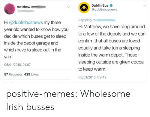 Depot: matthew m  Dublin Bus  @dublinbusnews  Hi @dublinbusnews my three  year old wanted to know how you  decide which buses get to sleep  inside the depot garage and  which have to sleep out in the  yard  06/01/2018, 01:07  Replying to  Hi Matthew, we have rang around  to a few of the depots and we can  confirm that all buses are loved  equally and take turns sleeping  inside the warm depot. Those  sleeping outside are given cocoa  to keep warm.  08/01/2018, 09:42  57 Retweets 429 Likes positive-memes: Wholesome Irish busses