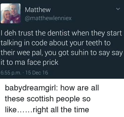 Scottish: Matthew  @matthewlenniex  I deh trust the dentist when they start  talking in code about your teeth to  their wee pal, you got suhin to say say  it to ma face prick  6:55 p.m. 15 Dec 16 babydreamgirl: how are all these scottish people so like……right all the time