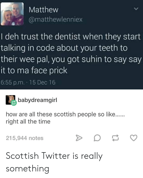 Scottish: Matthew  @matthewlenniex  I deh trust the dentist when they start  talking in code about your teeth to  their wee pal, you got suhin to say say  it to ma face prick  6:55 p.m. 15 Dec 16  babydreamgirl  how are all these scottish people so like......  right all the time  215,944 notes Scottish Twitter is really something