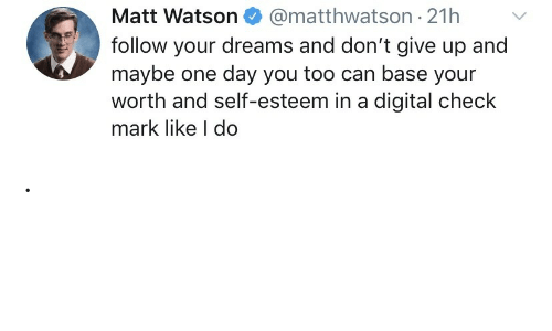 watson: @matthwatson 21h  Matt Watson  follow your dreams and don't give up and  maybe one day you too can base your  worth and self-esteem in a digital check  mark like I do .