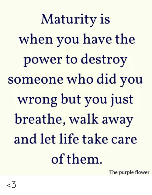 just breathe: Maturity is  when you have the  power to destroy  someone who did you  wrong but you just  breathe, walk away  and let life take care  of them  The purple flower <3