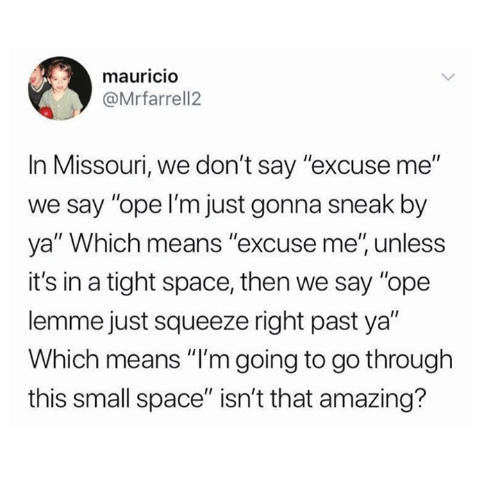 "Mauricio: mauricIO  @Mrfarrell2  In Missouri, we don't say ""excuse me""  we say ""ope I'm just gonna sneak by  ya"" Which means ""excuse me', unless  it's in a tight space, then we say ""ope  lemme just squeeze right past ya""  Which means ""I'm going to go through  this small space"" isn't that amazing?"