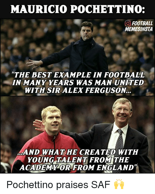 Alex Ferguson: MAURICIO POCHETTINO:  GO FOOTBALL  MEMESINSTA  THE BEST EXAMPLE IN FOOTBALL  IN MANY YEARS WAS MAN UNITED  WITH SIR ALEX FERGUSON  AND WHAT HE CREATED WITH  YOUNG TALENT FROM THE  ACADEMMZOR FROM ENGLAND Pochettino praises SAF 🙌
