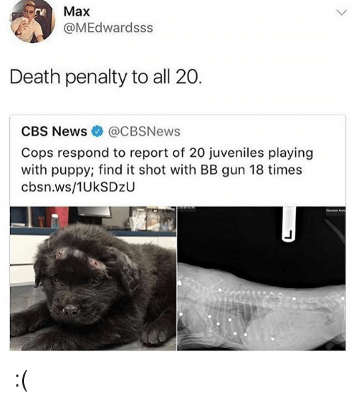 Reportate: Max  @MEdwardsss  Death penalty to all 20.  CBS News@CBSNews  Cops respond to report of 20 juveniles playing  with puppy; find it shot with BB gun 18 times  cbsn.ws/1UkSDzU :(