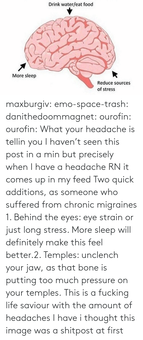 Behind The: maxburgiv:  emo-space-trash:  danithedoommagnet:  ourofin:  ourofin:  What your headache is tellin you  I haven't seen this post in a min but precisely when I have a headache RN it comes up in my feed   Two quick additions, as someone who suffered from chronic migraines 1. Behind the eyes: eye strain or just long stress. More sleep will definitely make this feel better.2. Temples: unclench your jaw, as that bone is putting too much pressure on your temples.   This is a fucking life saviour with the amount of headaches I have   i thought this image was a shitpost at first