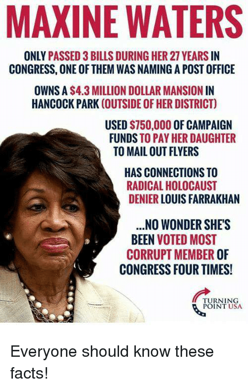 Maxine: MAXINE WATERS  ONLY PASSED 3 BILLS DURING HER 27 YEARS IN  CONGRESS, ONE OF THEM WAS NAMING A POST OFFICE  OWNS A S4.3 MILLION DOLLAR MANSION IN  HANCOCK PARK (OUTSIDE OF HER DISTRICT)  USED $750,000 OF CAMPAIGN  FUNDS TO PAY HER DAUGHTER  TO MAIL OUT FLYERS  HAS CONNECTIONS TO  RADICAL HOLOCAUST  DENIER LOUIS FARRAKHAN  .NO WONDER SHE'S  BEEN VOTED MOST  CORRUPT MEMBER OF  CONGRESS FOUR TIMES!  TURNING  POINT USA Everyone should know these facts!