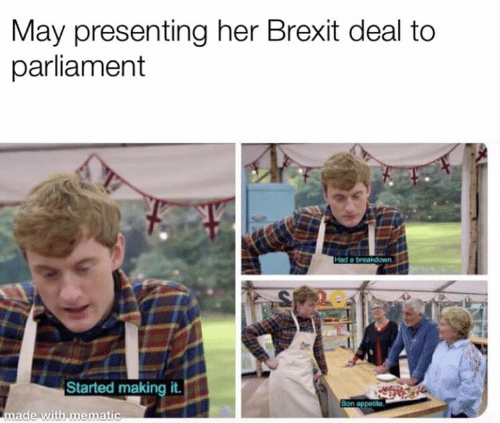 Memes, Brexit, and 🤖: May presenting her Brexit deal to  parliament  2C  -I  Started making it  ade with mematic