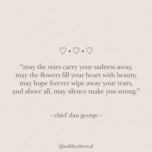 "wipe: ""may the stars carry your sadness away  may the flowers fill your heart with beauty,  may hope forever wipe away your tears,  and above all, may silence make you strong.  - chief dan george-  @softlyethereal"